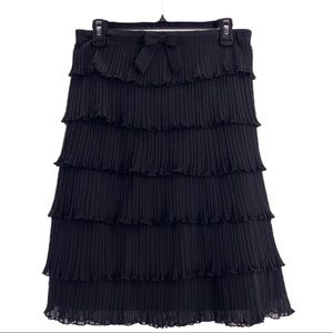 Black Skirt with Bow Tiered Ruffled Pleated Skirt